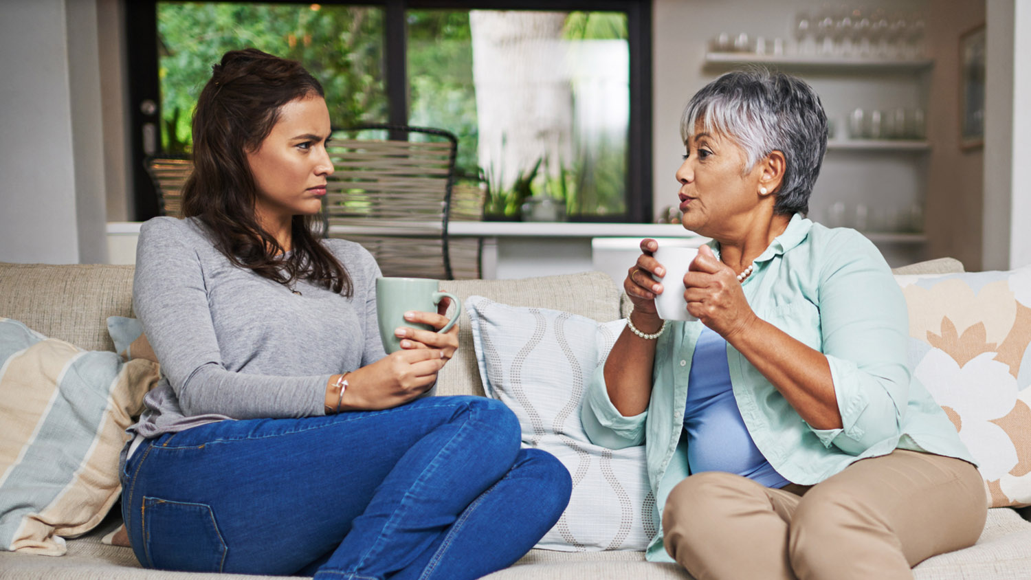 Mother talking to Grown child who makes bad decisions